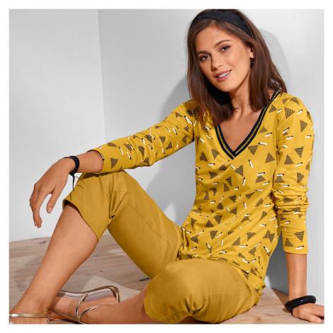 Blancheporte Tričko s dlouhými rukávy a potiskem žlutá