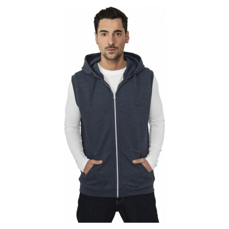 Melange Sleeveless Ziphoody - black/blue Urban Classics