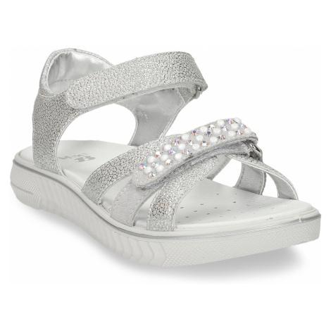 Stříbrné dětské sandály s kamínky Baťa