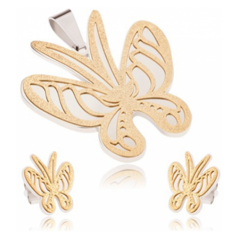 Zlato-stříbrný set z oceli, přívěsek a náušnice, pískovaný motýl