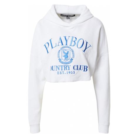 Missguided Mikina 'PLAYBOY' bílá / královská modrá