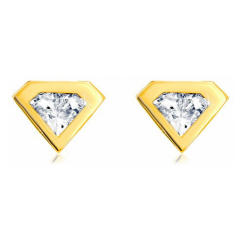Náušnice ze zlata 585 - broušený zirkon se zlatým lemem, motiv diamantu Šperky eshop