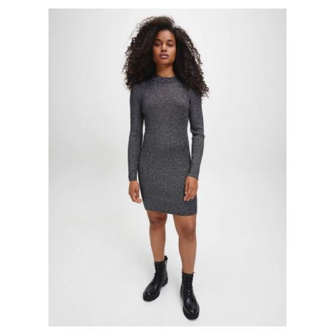Calvin Klein Calvin Klein dámské šedé šaty SILVER METALIC SWEATER DRESS