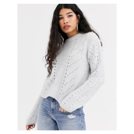 Bershka cable knit jumper in grey