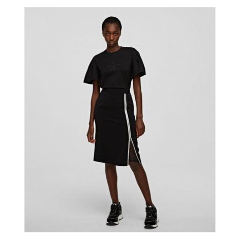 Sukně Karl Lagerfeld Cady Skirt W/ Mesh - Černá