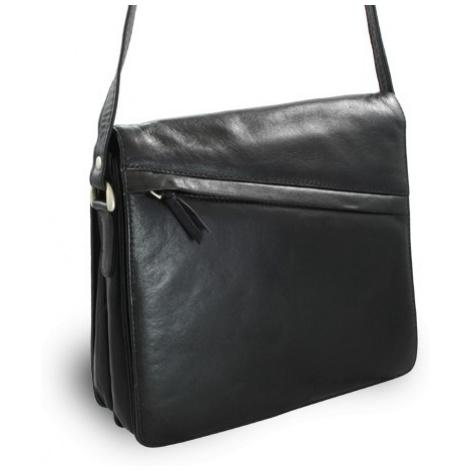 Černá dámská kožená klopnová kabelka Violet Arwel