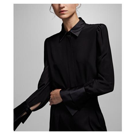 Košile Karl Lagerfeld Karl X Carine Silk Shirt - Černá