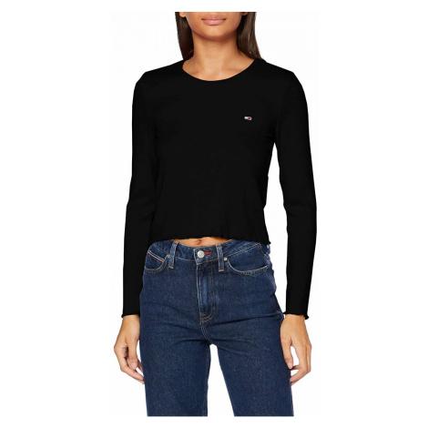 Tommy Hilfiger Tommy Jeans dámské černé triko s dlouhým rukávem RIB-KNIT LONG SLEEVE