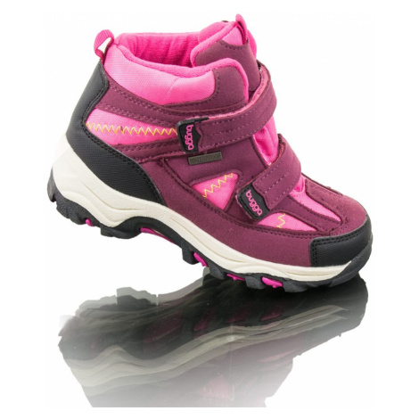 boty zimní 2 pásky, nepromokavá membrána, Bugga, B00126-03, růžová
