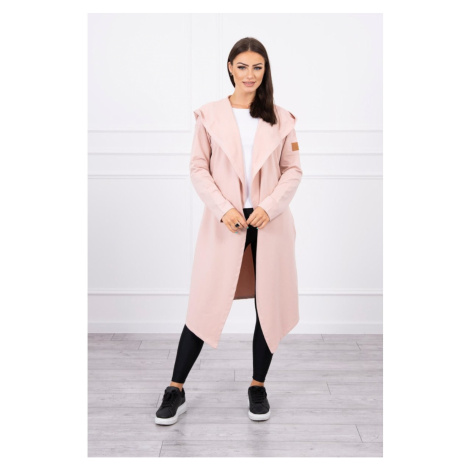 Long cardigan with hood dark powdered pink Kesi
