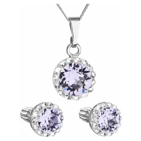 Sada šperků s krystaly Swarovski náušnice, řetízek a přívěsek fialové kulaté 39352.3 violet Victum