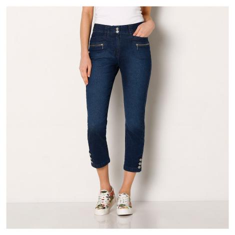 Blancheporte Džínové 3/4 kalhoty s knoflíky na koncích nohavic modrá