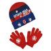 Modro-červený svítící set rukavic a čepice spider-man