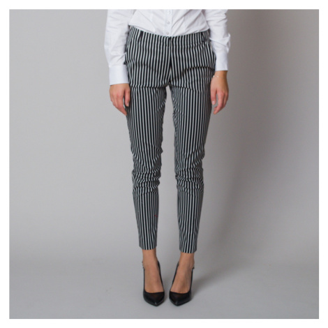 Dámské společenské kalhoty s černo-bílým pruhovaným vzorem 12185 Willsoor