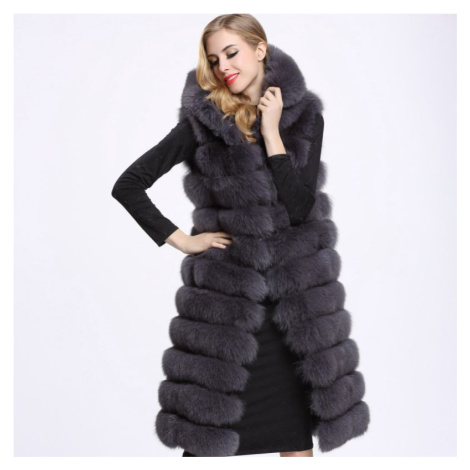 Dámský kožešinový kabátek bez rukávů vesta kožich s kapucí