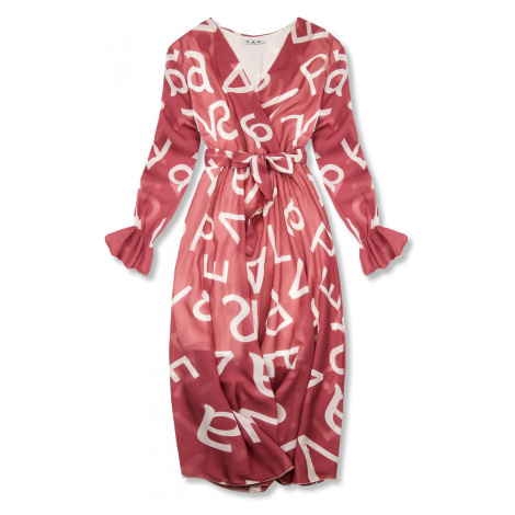 Tmavě růžové midi šaty s potiskem písmen Butikovo