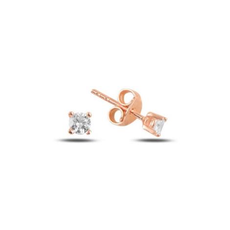 OLIVIE Stříbrné náušnice RŮŽOVKA 3 mm