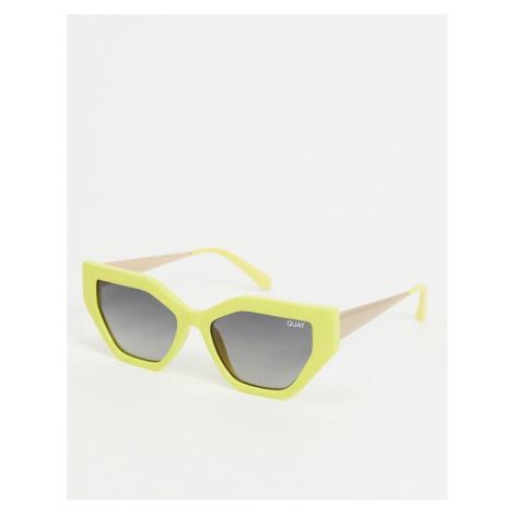Quay Australia Vinyl slim cat eye sunglasses in yellow