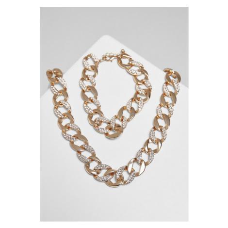 Urban Classics Basic Diamond Necklace And Bracelet Set gold