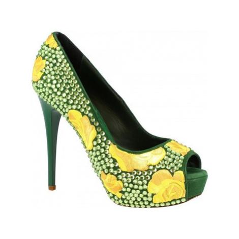 Leonardo Shoes G5SI93 STRASS VERDE Zelená
