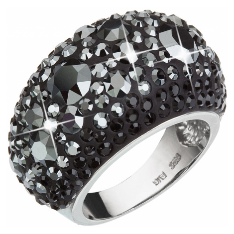 Evolution Group Stříbrný prsten s krystaly Swarovski černý 35028.5