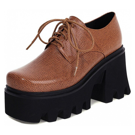 Vysoké polobotky Gingham kožené boty šněrovací na platformě