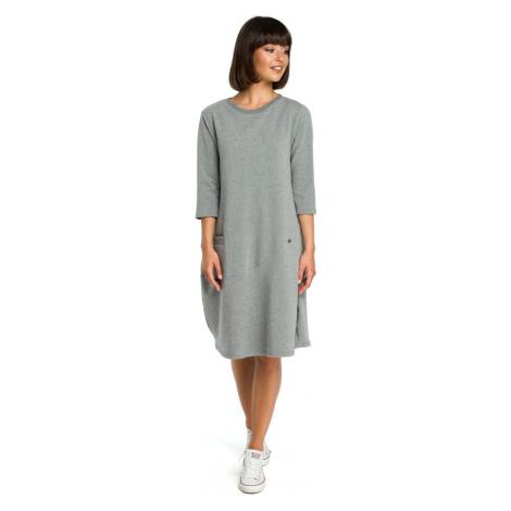 Oversize sportovní šaty bavlněné s přední kapsou BEWEAR B083