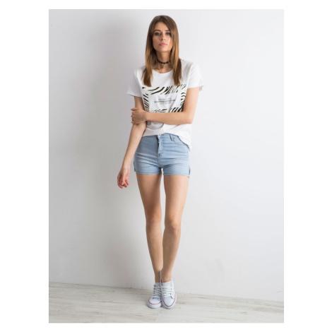 Denim blue shorts with a high waist Fashionhunters