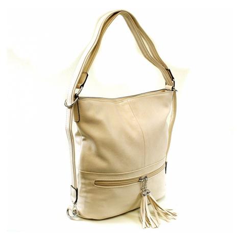 Krémová dámská kombinace crossbody kabelky a batohu Sestie Mahel