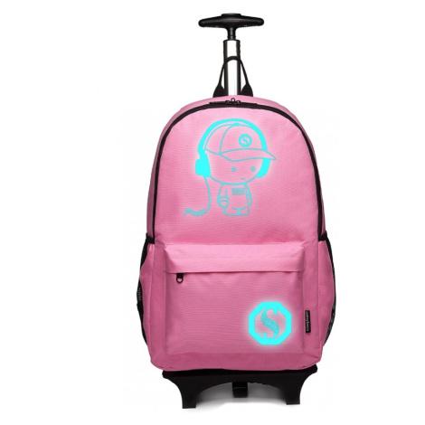 Růžový multifunkční zářící batoh na kolečkách Ziggy Lulu Bags