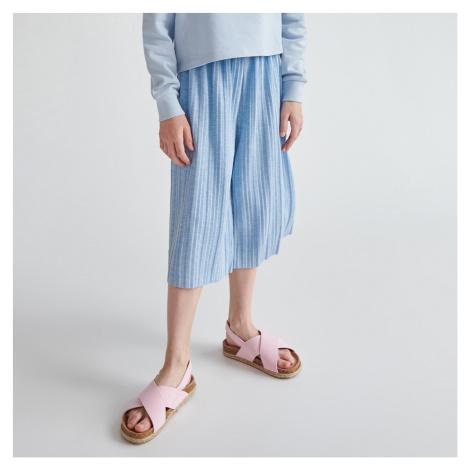 Reserved - Plisovaná kalhotová sukně - Modrá