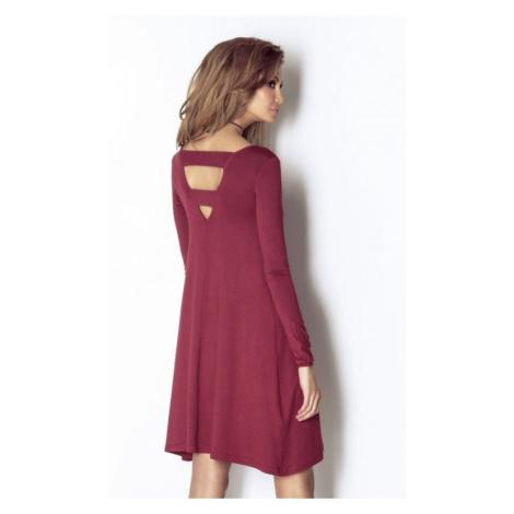Dámské ležérní šaty z lehkého úpletu v bordó barvě CELINE IVON