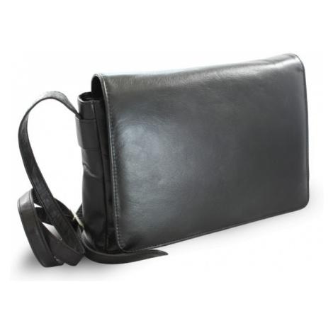 Černá kožená klopnová kabelka Londen Arwel