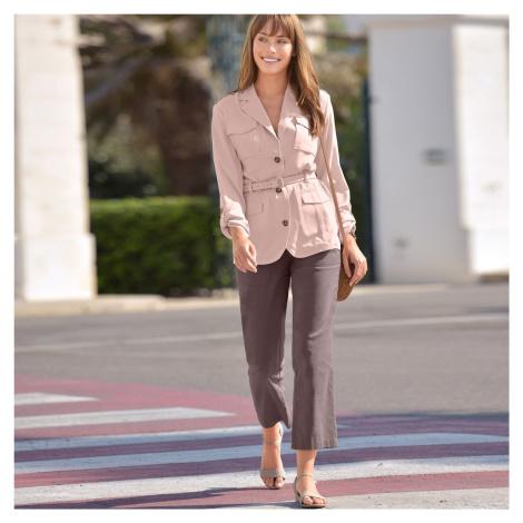 Blancheporte 7/8 kalhoty len/bavlna ledová kaštanová