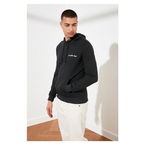 Trendyol Anthracite Men's Regular Fit Embroidered Hooded Sweatshirt
