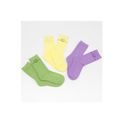 Urban Classics Heart Oneline Socks 3-Pack fialové / zelené / žluté