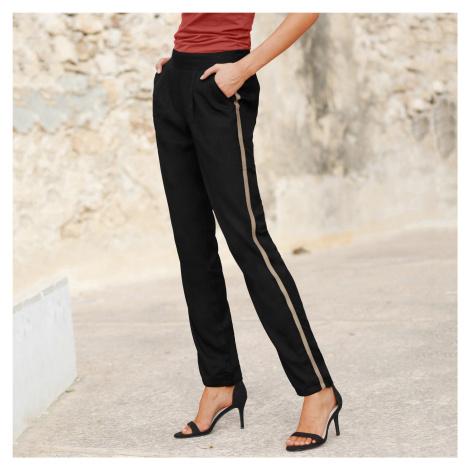 Blancheporte Vzdušné kalhoty s lampasy černá