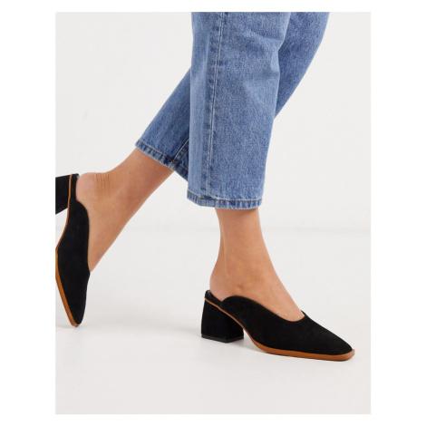 ASOS DESIGN Signal premium leather mid-heeled mules in black