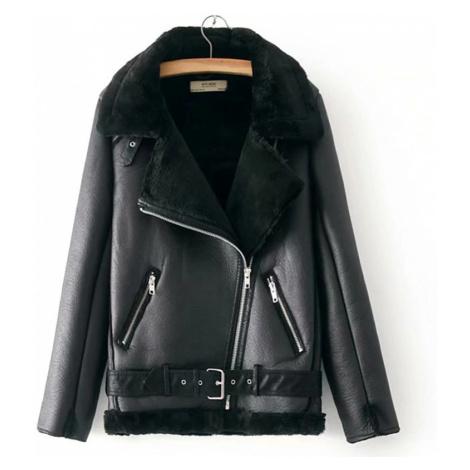 Luxusní dámská zimní kožená bunda černá s kožíškem a páskem