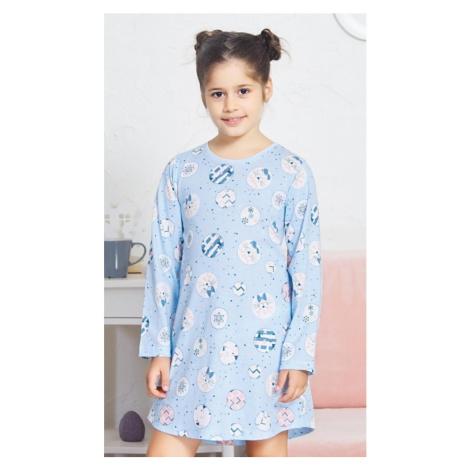 Dětská noční košile s dlouhým rukávem Kitty, 15 - 16, světle modrá Vienetta Secret