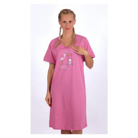 Dámská noční košile mateřská Čáp s houpačkou, S, fialová Vienetta Secret