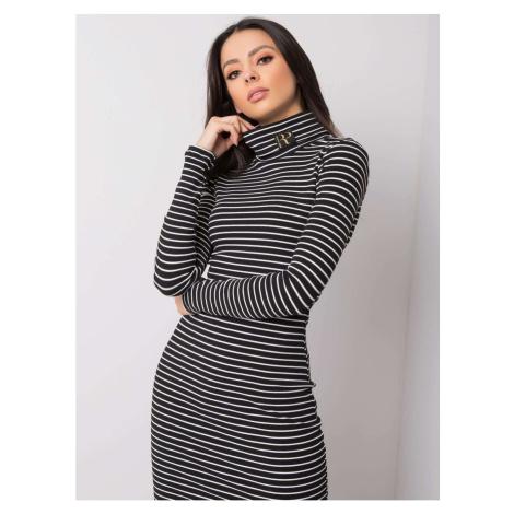 RUE PARIS Black and white striped dress