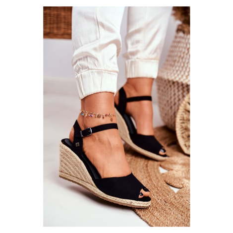 Women's Sandals On Wedge Heel Big Star Black DD274A209 Kesi