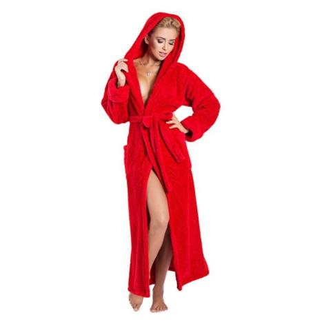 Dlouhý huňatý župan Diana červený s kapucí DKaren