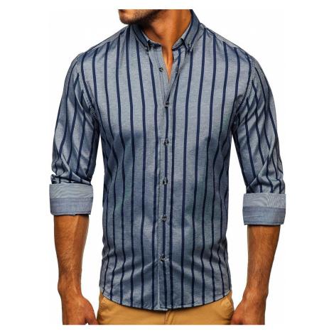 Grafitová pánská pruhovaná košile s dlouhým rukávem Bolf 20705