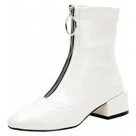 Černé lakované boty kožené bílé boty na podpatku s dlouhým zipem