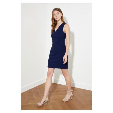 Trendyol Navy V-Neck Basic Dress