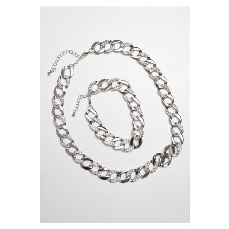 Basic Diamond Necklace And Bracelet Set - silver Urban Classics