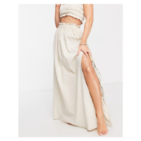 ASOS DESIGN frill edge co ord maxi beach skirt in stone-Cream
