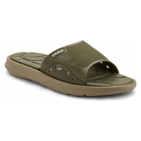 COQUI MELKER Pánské pantofle 6194-609 Beige/Army Green